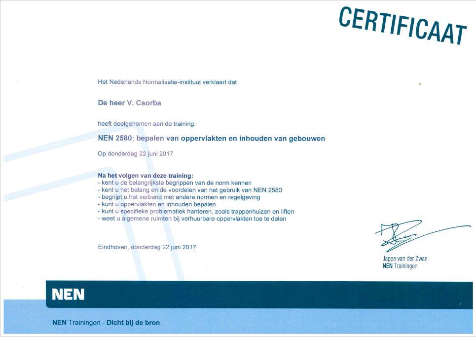 NEN 2580 certificaat